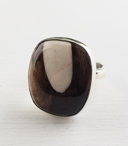 Sterling Peanutwood Jasper Ring