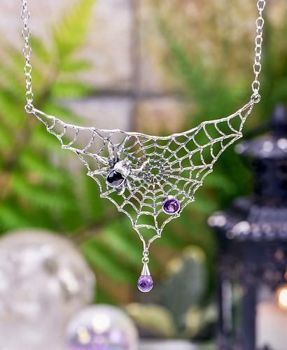 Sterling Silver Amethyst & Onyx Spider Web Necklace