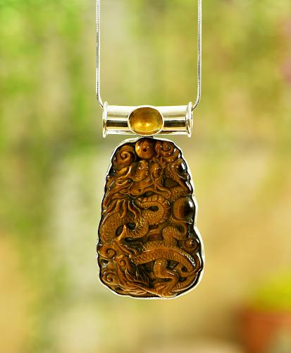 Sterling Tiger Eye & Citrine Dragon Pendant
