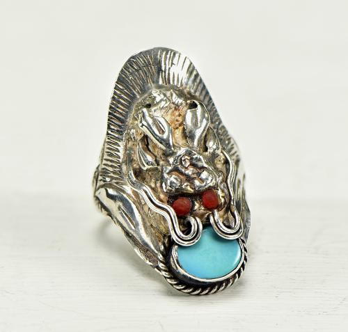 Sterling Turquoise Dragon Ring
