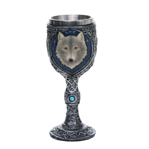 White Wolf Bejeweled Goblet