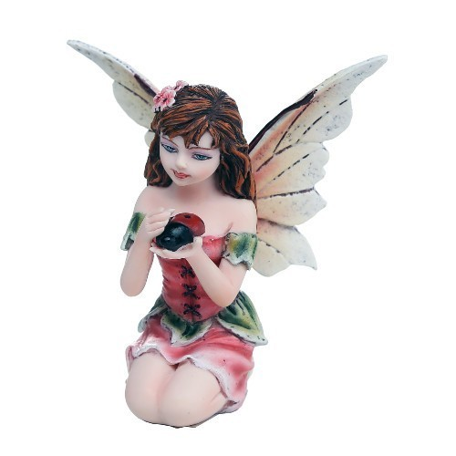 Little Fairy With Lady Bug Statue