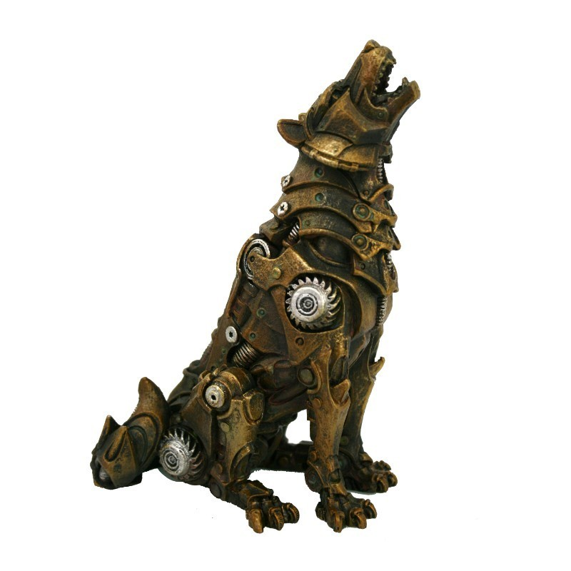 wolf spirit guide totem animal statue steampunk