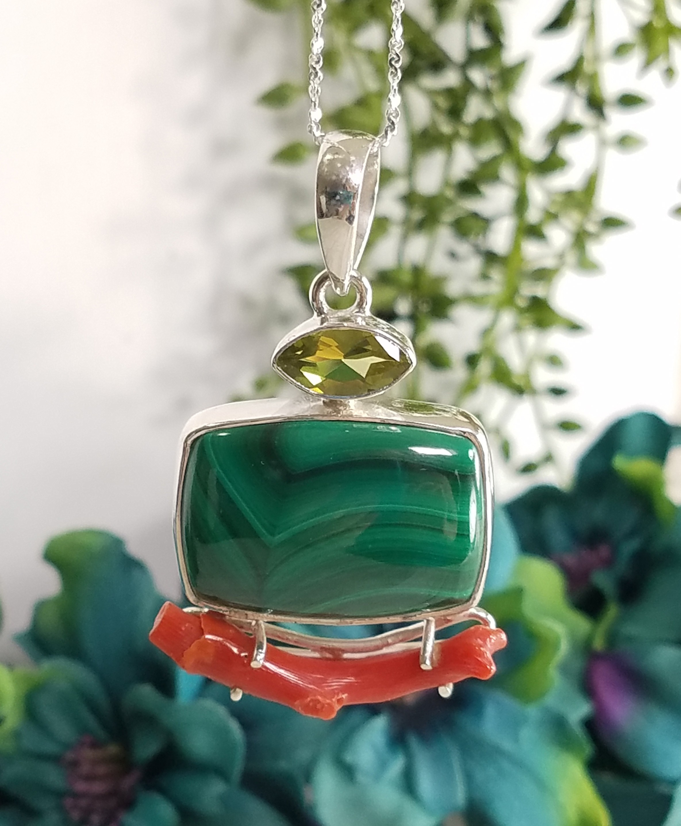 Custom Jewelry - Malachite & Coral Sterling Pendant