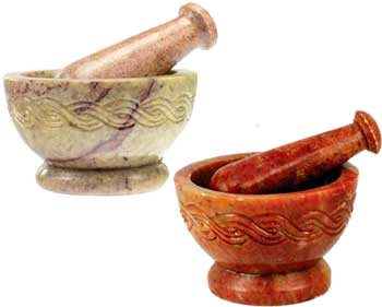 Mortar & Pestle Made Of Soapstone With Celtic Knot Design