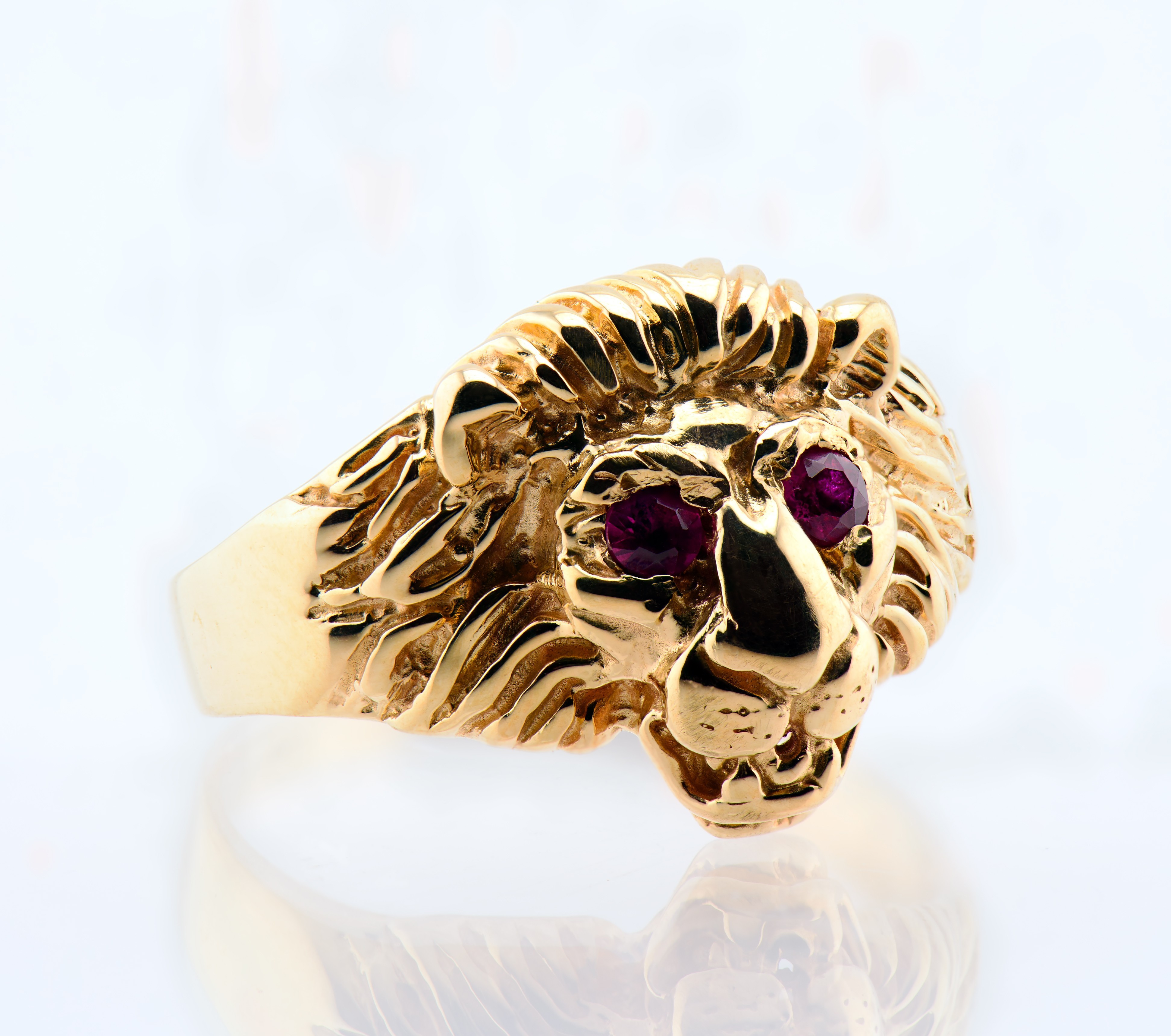 Custom Jewelry - 10k Gold Lion & Ruby Ring