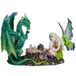 Fairy and Green Dragon Playing Chess