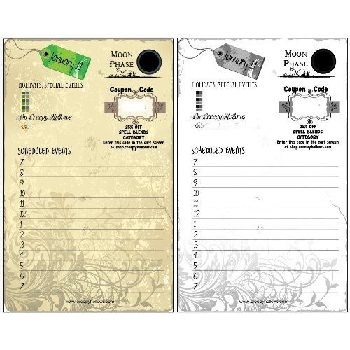 ! 2013 CREEPY HOLLOWS PLANNER - LUNAR/MOON PHASES, SCHEDULED EVENTS, COUPONS, HOLIDAYS, SALES & MORE!