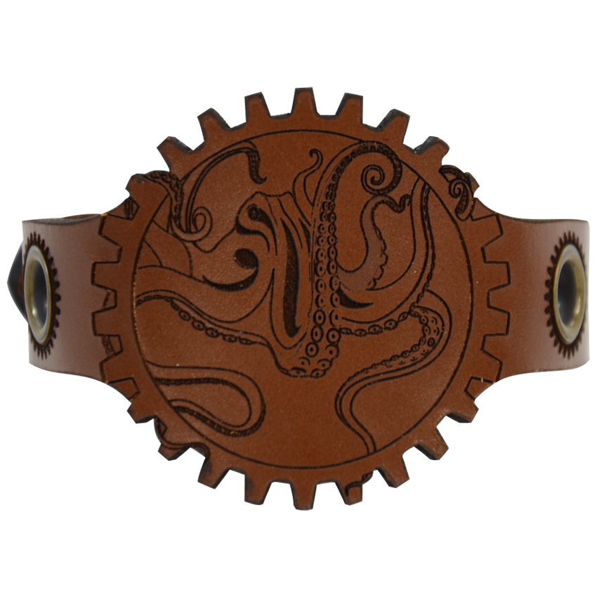 Steampunk Leather Octopus Wrist Cuff