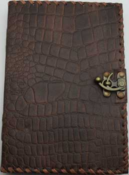 Brown Python Leather W/ Latch