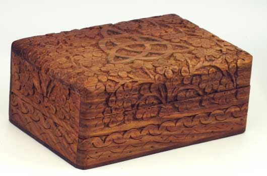 "Triquetra Wooden Carved Box 4""X6"""