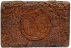 "Om Wooden Carved Box 6""X3 3/4"""