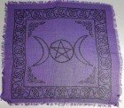 "Triple Moon W/Pentagram Cloth 18"" X 18"""